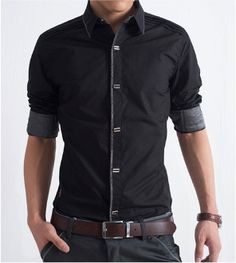 Men's Short Sleeve Button Shirt with Striped Details