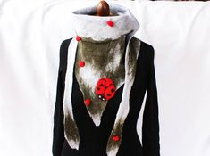 Ladybug Wool Triangle Scarf Design OOAK Felt Wrap Eco Lady