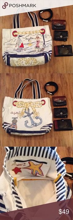 """Brighton womens tote purse belt handbag lot Brighton tote, wallet and belt lot. The belt measures 37"""". The lot is in good used. Some items might have minor wear or need a slight cleaning. Smoke free home. Brighton Bags Totes"""