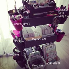 """Ikea kitchen cart filled-these items are in another language but the idea is good. I guess """"stickers"""" translate in some language to """"tampons."""""""