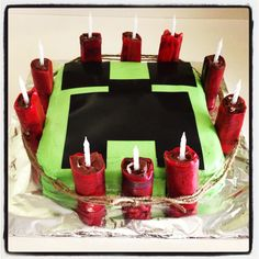My sons 10th birthday Mine-Craft cake.  The dynamite was Swiss cake rolls wrapped in strawberry fruit roll up.