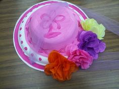 From my classroom: Spring Bonnet hat made from two paper plates and tissue flowers.