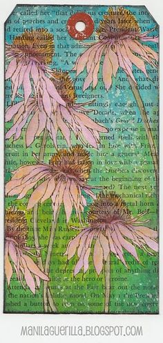 Beulah Bee: Coneflower from Tim Holtz Flower Garden set stamped on book paper, colored w/ acrylic paint using tiny brush, edged w/ Black Soot Distress Ink & splattered w/ white ink. Timmy Time, Tim Holtz Stamps, Card Tags, Gift Tags, Birthday Tags, Handmade Tags, Paper Tags, Artist Trading Cards, Altered Art