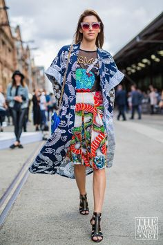 Amazing Fashion Week Australia 2015 Street Style - a statement-making navy blue printed robe worn with a glittered graphic t-shirt + colorful printed midi skirt