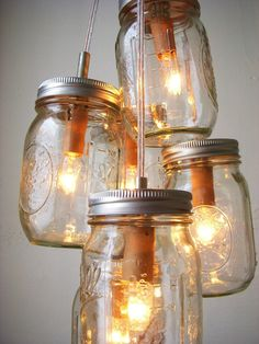 Chasing Fireflies Mason Jar Chandelier Hanging by BootsNGus, $130.00