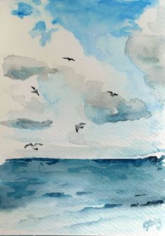 Easy Watercolor Landscape Painting Ideas Watercolor Paper, Watercolour Painting Easy, Beach Watercolor, Watercolor Landscape Paintings, Painting & Drawing, Painting Walls, Katie Jobling, Windsor Newton, Seagulls Flying