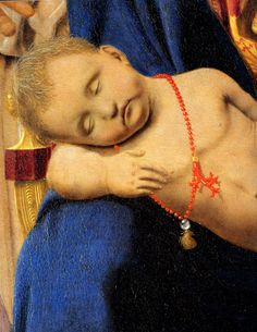 Piero della Francesca:  Madonna and Child (detail)  Love the piece of natural coral.