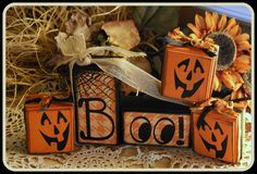 Halloween wood blocks Boo by CCsCountryCreations on Etsy