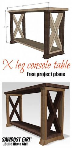 Pallet Table Plans - This BoX Leg Console Table is a variation of my two-toned console table. This one with a large X in the box legs. The X's are a fun addition. Diy Wood Projects, Home Projects, Wood Crafts, Diy Crafts, Diy Home Decor Rustic, Easy Home Decor, Sweet Home, Diy Casa, Entryway Tables