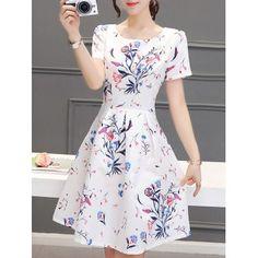 Stunning Women\'s Jewel Neck Short Sleeves Pleated Flare Dress (WHITE,XL) in Print Dresses   DressLily.com