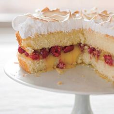 Raspberry-Lemon Meringue Cake.