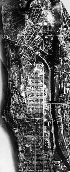 The closing of the Manhattan frontier: 155th Street, Washington Heights and Inwood. By 1924 the island had been almost completely built-up: even in Inwood few unimproved lots remained open for new construction. Aerial survey, 1924.