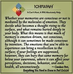 Whether your memories are conscious or not is mediated by the molecules of emotion. They decide what becomes a thought rising to the surface, and what remains buried deeply in your body. What this means is that much of memory is emotion driven, not conscious, . . .  – Candace Pert, Everything You Need to Know to Feel Go(o)d