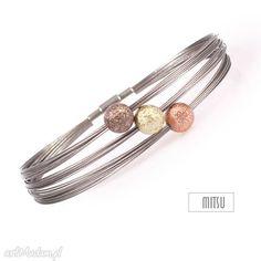 Industrial autum bransoletki mitsu brąz rudy srebrny elegancka