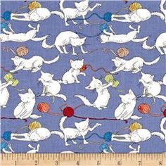 Cat fabric 'knittens' by Clothworks, Fat quarter Cat Background, Cat Fabric, White Kittens, Kittens Playing, Fat Quarters, Types Of Art, Blue Backgrounds, Kittens Cutest, Shades Of Blue