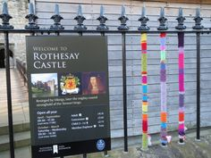 Colourful yarn bombed railings at Rothesay Castle, signposting people to follow the yarn bomb trail Yarn Bombing, Railings, Trail, Castle, Sport, Creative, People, Projects, Deporte