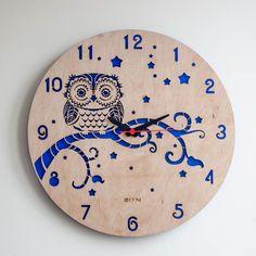 Moderno orologio da parete Gufo grande orologio da di Lines4room