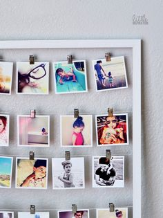It's like the clothesline idea for picture display, but in a frame so it can be moved around if necessary. Photo Polaroid, Polaroid Pictures, Diy Polaroid, Polaroid Ideas, Diy Photo, Do It Yourself Projects, Projects To Try, Pele Mele Photo, Home Crafts