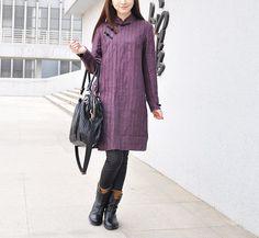 c6360e60bf83e0 the cheongsam   Linen Striped Dress   Pleated by camelliatune