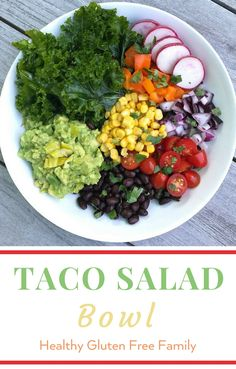 A quick and easy salad when you have no time to prep. Start with your favorite guacamole (or make Our Favorite Guacamole) add some beans and your favorite vegetables and you have a simple, satisfying salad full of goodness. #GlutenFree