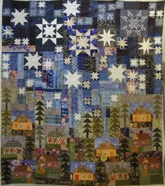 Houses Under A Starry Night - There is no pattern or tutorial for this quilt, but it greatly intrigues me.