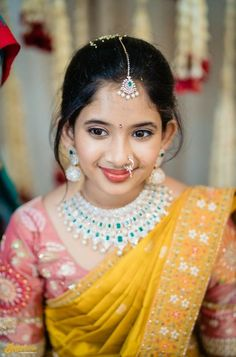 Indian Bridal Jewelry Sets, Indian Jewellery Design, Half Saree Designs, Fancy Blouse Designs, Indian Dresses For Kids, Half Saree Function, Indian Bride Poses, Bridal Sarees South Indian, Kids Ethnic Wear