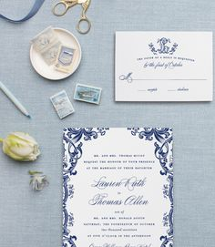 Blue and White Chinoiserie Wedding Invitations