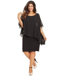 Betsy & Adam Plus Size Dress, Three-Quarter-Sleeve Chiffon Capelet Sheath - Plus Size Dresses - Plus Sizes - Macy's