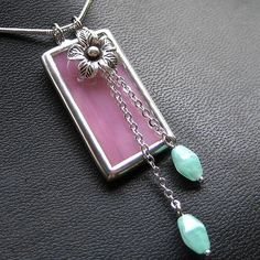 https://flic.kr/p/4z4XAC | Iridescent Stained glass with 99% silver flower charm pendant
