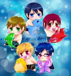 Chibi free! characters by ernn ...  Free! - Iwatobi Swim Club, haruka nanase, haru nanase, haru, haruka, free!, iwatobi, makoto tachibana, makoto, tachibana, nanase, rei ryugazaki, rei, ryugazaki, nagisa hazuki, hazuki, nagisa, matsuoka, rin, rin matsuoka, doplhin, butterfly, orca, killer whale, shark, pinguin