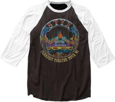 Styx Vintage Concert Baseball Jersey T-shirt - Styx Paradise Theater Tour 1981 | Black with White Sleeves Raglan Shirt