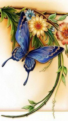 Butterfly Drawing, Butterfly Painting, Butterfly Wallpaper, Butterfly Flowers, Beautiful Butterflies, Flower Art, Beautiful Flowers, Blue Butterfly, Butterfly Design
