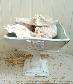 Upcycled Wood Pedestal Bowl Shabby White Aqua Beach Cottage Chic Decor Repurposed Vintage Beachy Wooden Bowl Mid Century Shabby Display