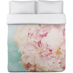 One Bella Casa Delicate Peony Fleece Duvet Cover - Turquoise/Pink ($100) ❤ liked on Polyvore featuring home, bed & bath, bedding, duvet covers, turquoise pink, pink bedding, turquoise king bedding, turquoise duvet, king bedding and turquoise bedding