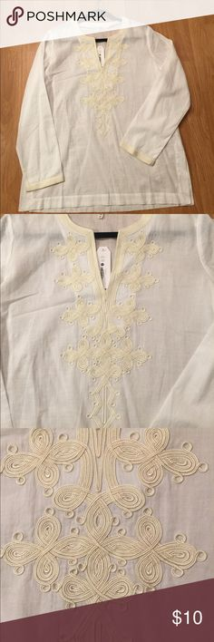 "🐷White Embroidered Cotton Tunic White 100% cotton long sleeve tunic top with cream embroidery on front. Has side slits. Bust 21"" across, length 28"". Moon & Meadows Tops Tunics"