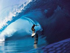 ride the barrel of a wave