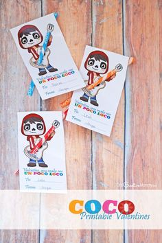 These free Coco printable Valentines are the cutest! The kids are going to love them this Valentine's Day! {OneCreativeMommy.com} Three choices for layout