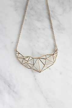 Poly Struc Statement Necklace 24/7 by GOOD AFTER NINE  //materials: brass //finishing: 18k gold plating //color: gold //dimensions :11.2 x 6.5 x