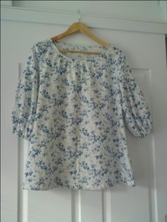 Top B - Stylish Dress Book in blue and white floral cotton made for a friend