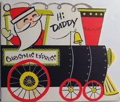 50s Buzza Cardozo Santa Railroad Train Vintage Die Cut Christmas Card 1653   eBay