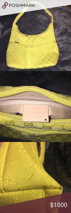 Vintage Neon Yellow GG Canvas Handbag AUTHENTIC ✨ Gucci Neon Yellow Canvas Handbag 💛 Has two minor scuffs, but otherwise in great condition! Gucci Bags