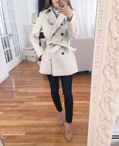 When it is not cold enough to wear thick trench coat outfit Trench Coat Outfit, Trench Jacket, Coat Dress, Rain Jacket, Office Outfits, Casual Outfits, Emo Outfits, Coats For Women, Jackets For Women
