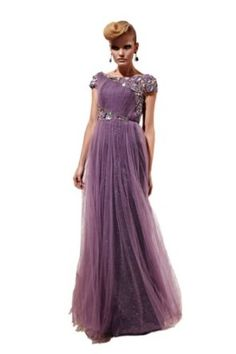 Orifashion Attractive Purple Tulle Boat Neck Long Evening Dress With Short Sleeves,