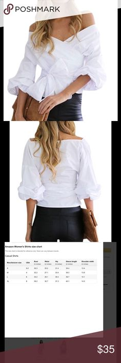 Off Shoulder Tie Blouse Material: Cotton Blend Features: Lantern Sleeve, Wrap V Neck, Off Shoulder, Front Tie, Sexy Style, Regular Fit, Stretchy(Please note that the bow is separate need to tie by yourself)) Please check the size chart carefully with your body measurement and then choose your size WLLW Tops Blouses