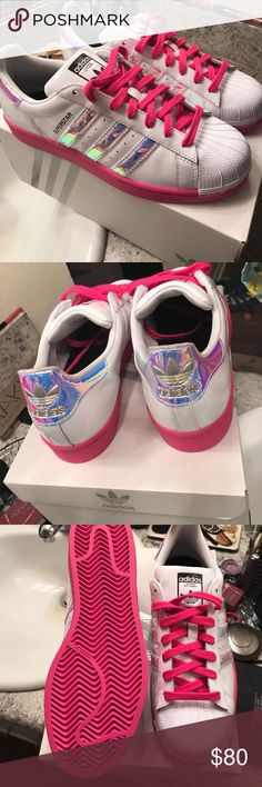 Custom Unicorn Superstar Sneakers New with box! Custom pink sole & laces  with silver holo sides. Come with adidas carrying pouch and white laces as  well.