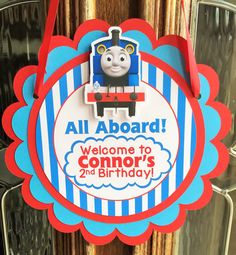 Thomas the Train Birthday Party Door Sign by sweetheartpartyshop