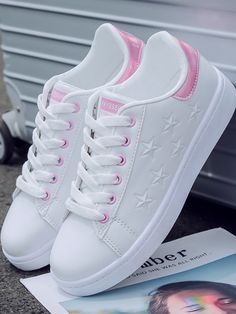 Pink Round Toe Stars Lace-up Fashion Ankle Shoes shoes sneakers Tennis Shoes Outfit, Casual Shoes, Shoes Style, Ankle Shoes, Shoe Boots, Fashion Boots, Sneakers Fashion, Fashion Outfits, Kawaii Shoes