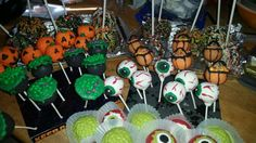 Halloween treats. Cake pops, chocolate covered oreos and candy apples. Hand made by me