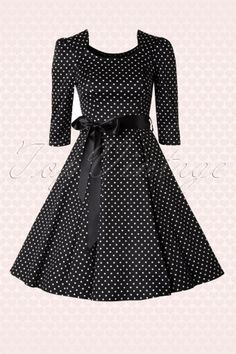 Hearts and Roses Black and White Swing Polkadot Dress