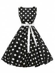 Sleeveless Polka Dot Vintage Dress with Belt